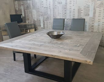 Dining table industrial steel gray solid pine tray Center foot
