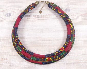 Bib necklace in multicolored tones seed beads and African fabric