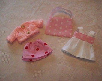 2 outfits for mini 20 cm:type corolline doll outfit with vest cotton