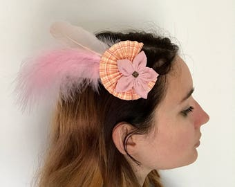 Flower fabric, origami and feather hair clip