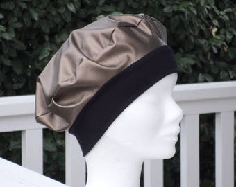 bronze and black vinyl rain woman turban Hat beret Hat