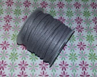 5 meters of light grey suede cord 2.7x2mm