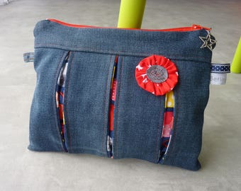 Flat pouch hand zippered recycled denim dominant Red