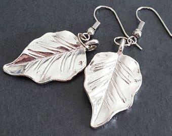Earrings silver leaf earrings leaves