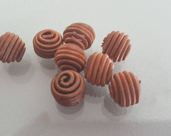 6 spiral metal beads 10 mm rust colored
