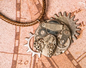 Steampunk inspiration necklace pendant watch mechanism old heart and gears - Made With Love