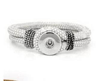 For snap or button chunk color gray white rhinestone bracelet
