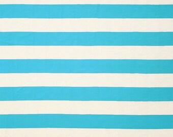 Azure Blue Natural White Stripe Cotton Jersey Blend Knit Fabric **UK Seller**