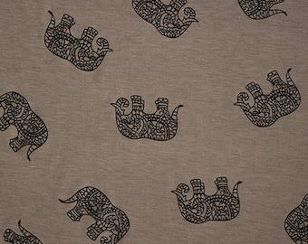 Black Drawn Ethnic Elephants on Taupe Cotton Jersey Blend Knit Fabric **UK Seller**