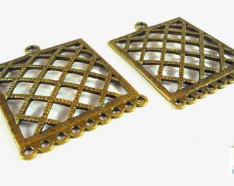2 large chandelier bronze grid, 34x44mm (co82)
