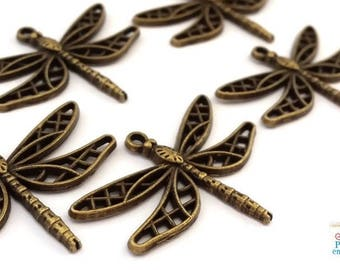 5 large charms dragonflies, bronze color nickel free, 25x35mm (bre374)
