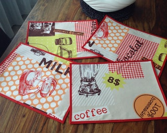 Set of four vintage place mats
