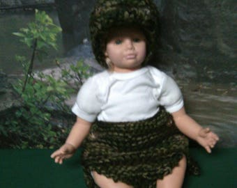 Crochet Diaper Cover Camoflauge Diaper Cover Hat