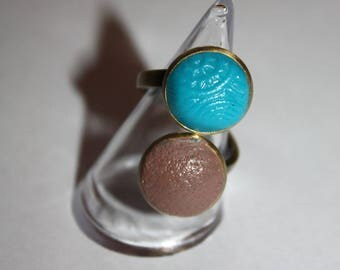 ring fimo taupe and turquoise
