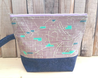 Knitting Project Tote, Zipper Bag, Toiletry Storage, Upcycled Denim, Eco-friendly, Geometric Print, Retro Style, Gift for Knitters, Altfield
