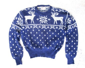 M L 40s Jantzen Ski Sweater Wool Blue White Novelty Print Reindeer Vintage Winter Size 40 Medium Large