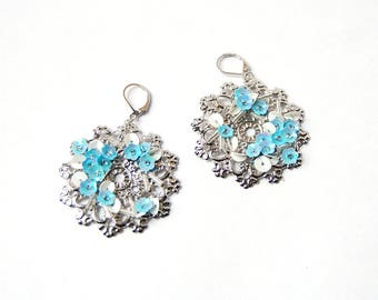 Shaman wedding - pale blue, sky blue earrings, floral, embroidered flowers, embroidery