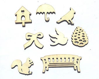 """Nature"" wooden embellishment Pack"