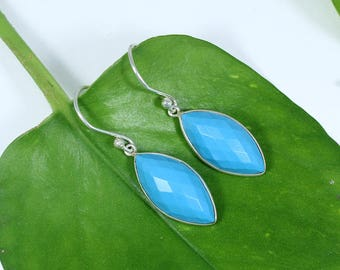 925 Sterling Silver Drop Earring, Silver & synthetic Turquoise Silver Drop Earring LHE027