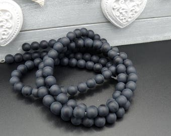20 6 mm round black agate beads