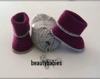 Dark mauve and grey boots size 6-9 months