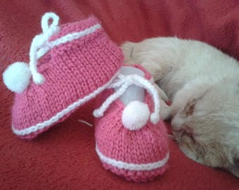 Pink and white booties 3-6 months