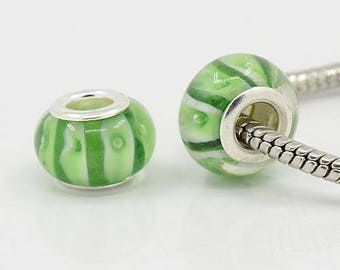 2 green 14 mm white Lampwork Glass Beads