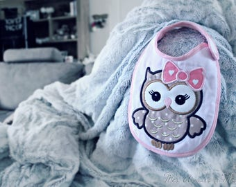 Embroidered OWL baby bib