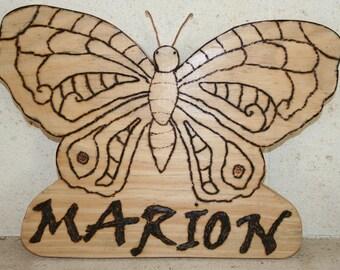 Natural with name wood door panel