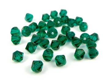 50 x® 4 mm EMERALD Swarovski Crystal bicones
