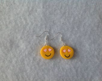 Pink heart Emoji earrings