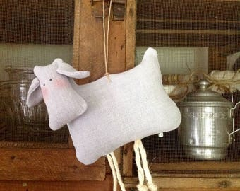 Little cow made from vintage fabric grey