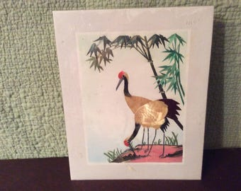 Vintage 8x10 Wheat Stalk on Silk Cranes and Bamboo Picture- unframed