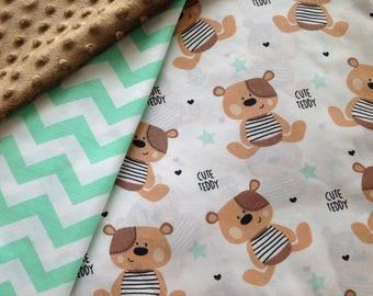 100% cotton fabric printed Teddy bear