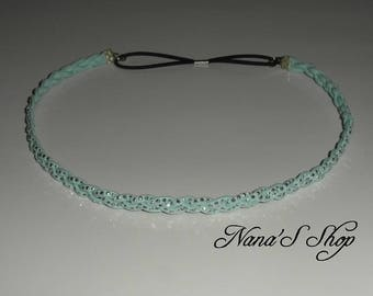 Braided headband, suede Mint rhinestones.