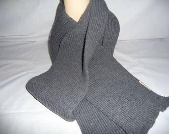 scarf knitted, warm, simple dark grey