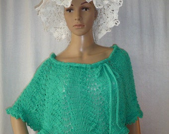 Stole covers shoulders handmade point lace knit