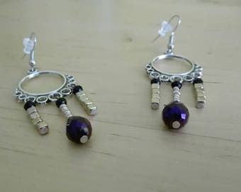 "Earrings ""Esmeralda"". Earrings Bohemian purple and gold"