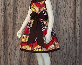 Wax in yellow, red, black cotton dress. Very trendy. HAND MADE