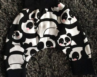 Harem pants racoon 3 months baby winter panda with rosy cheeks