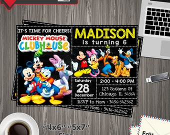 Mickey Mouse Invitation, mickey mouse Birthday, mickey mouse Party, mickey mouse Printable, mickey mouse Editable, mickey mouse PDF