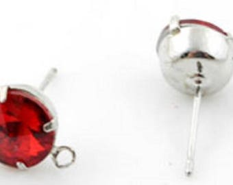 Metal earrings ± 18x11mm with imitation diamond ± 8mm crystal glass and eye ± 1.5 mm