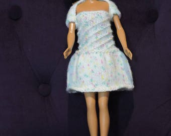 Dress and hides shoulders for Barbie, knitted by hands