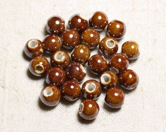 100pc - ceramic porcelain iridescent 10mm Brown round beads