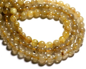 Wire 39cm env - stone beads - Golden rutilated Quartz 51pc balls 7-8mm