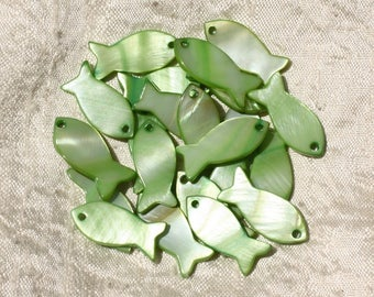 5pc - charms Pearl green 23mm 4558550017987 fish