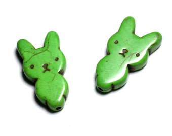 10pc - beads Turquoise synthetic rabbit 28 mm Green - 4558550088277
