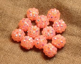 5pc - pearls Shamballas resin Pink salmon 4558550019851 12x10mm