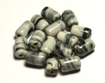 6PC - porcelain ceramic beads 14mm white grey black - 8741140017801 Tubes