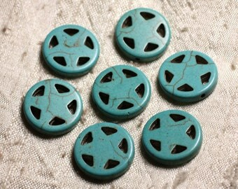 10pc - synthetic Turquoise beads Circle Star 20mm blue Turquoise 4558550011695